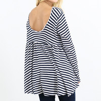 Jail House Babe Navy & White Striped Waffle Knit Top