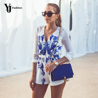 Floral Printed Women Shorts Rompers Jumpsuit Blue And White Elegants 2016 New Arrival Playsuit Bodysuit V-neck Tie Waist Sexy