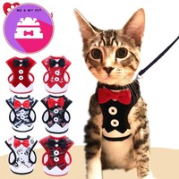Cat/ Dog Harness Tuxedo Bowtie Jacket+Leash Set