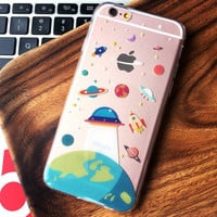 Cartoon Cute UFO Astronaut Spaceship iPhone 6 6s Plus iPhone X 8 7 Plus Case