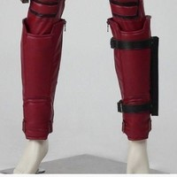 Cosplaydiy X-Men Deadpool Shin Guards Deadpool Leg Band Leg Warmer Adult Halloween Cosplay Accessories