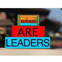 Teacher Blocks Back to School Readers are Leaders -Trio Wood Blocks Stack - Classroom Decor/Gift - Wooden