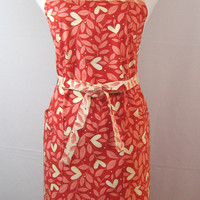 Mothers Day Apron Hearts Red Hots Pink Peach Cream Leaves Flowers Full Size 100% Cotton Gifts For Her Love Valentine