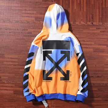 Off White New fashion letter print hooded long sleeve sweater