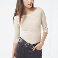 Lotus Lace Crew-Neck Thermal Top | Urban Outfitters