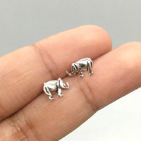 Elephant Stud Earrings, Sterling Silver Elephant Post Earrings, elephant jewelry, Helix Earrings, Cartilage Earrings, Boho Earrings, gift
