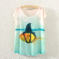 White Short Sleeve Fish Print T-Shirt