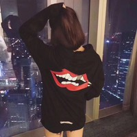 """""""Chrome Hearts"""" Women Casual Fashion Personality Red Lip Horseshoe Letter Pattern Print Long Sleeve Hooded Sweater Tops"""