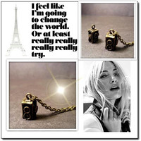 Vintage Camera Necklace - Charm Necklace - Twin Lens Camera - Custom Chain Length - Christmas Gift
