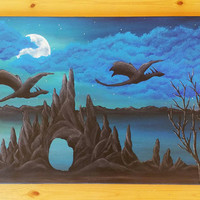 Dragon Painting on canvas, large fantasy painting,  Dragon bedroom decor, dragon gift ideas, large canvas painting, large acrylic paintings