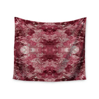 """Ebi Emporium """"Tie Dye Helix, Red """" Burgundy Abstract Wall Tapestry"""