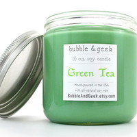 Green Tea Scented Soy Candle Jar