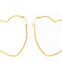 Edforce Stainless Steel Gold Plated Big Heart Hoop Earring (50x51mm)