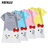2017 Summer Party Teenagers Baby Girls Dresses Hello Kitty Princess Flower Girl Dress Gowns For Kids Clothes Vestido Infantil 01