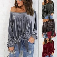 Butterfly Long Sleeve Batwing Sleeve Tops T-shirts [11803100367]