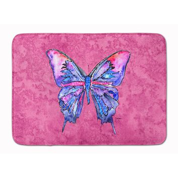 Butterfly on Pink Machine Washable Memory Foam Mat 8859RUG