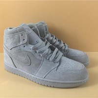 "AIR JORDAN 1 MID ""GREY   SUEDE"""