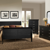 Louis Philippe Black Queen Bedroom Set