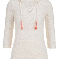 Open Crochet Hoodie With Ombre Rope Ties - Beige