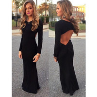 Backless Black Long Sleeve Prom Dresses