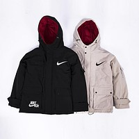 NIKE winter new hooded big pocket men and women models cotton coat tooling cotton clothes