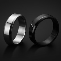 6mm Titanium Band Brushed Wedding Ring Solid fashion ring glossy 316L stainless steel ring for women & men Valentine's Day