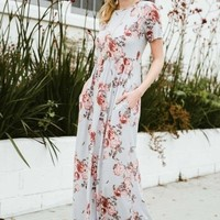 """Brooklyn"" Floral Maxi Dress - Silver"