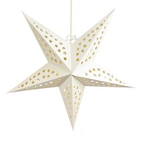 """24"""" Solid White Stars Cut-Out Paper Star Lantern, Chinese Hanging Wedding & Party Decoration"""