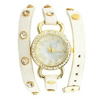 Wrapped Pleather Studded Watch: Charlotte Russe