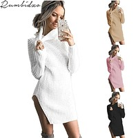 2017 Autumn and Winter Sexy Casual Vintage Hollow Women Sweater Long Sleeve Loose Turtleneck Knitted Pullover Sweaters Crop Top