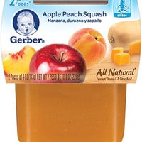 Gerber 2nd Foods Apple Peach Squash, 4 Ounce Tubs, 2 Count (Pack of 8)