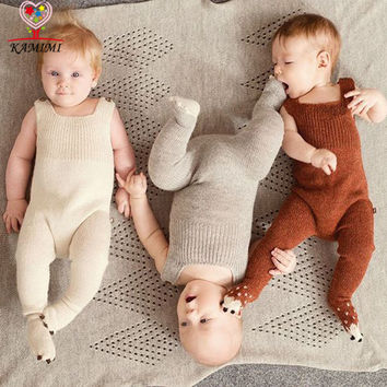 KAMIMI baby knitting romper autumn new style soft newborn baby boys girls one-pieces woolen jumpsuit cute pajamas baby clothes