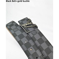 LV fashionable belt for men and women hot seller of checked belts White Belt+gold buckle