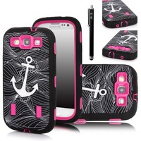 E LV Deluxe Anchor Print Hard Soft High Impact Armor Case Combo for Samsung Galaxy S3 i9300 with 1 Screen Protector, 1 Black Stylus and E LV Microfiber Sticker Digital Cleaner (Anchor Hot Pink)