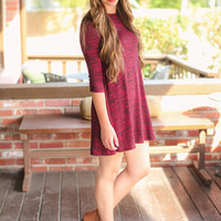 Can't Get Enough Swing Dress - Burgundy