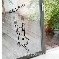fairy Wall stickers cartoon child real refrigerator kitchen cabinet wall stickers tile furniture glass stickers help cat quotes (Color: Black)