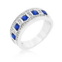 Gina Sapphire Blue and Clear Encrusted Band Ring   3ct   Cubic Zirconia   Silver