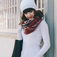 Red Plaid Flannel Infinity Scarf