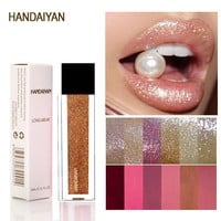 HANDAIYAN Brand Gold Silver Glitter And Matte Lipstick Waterproof Red Matte Lips Gloss Liquid Lipstick Cosmetic Beauty Lip Color