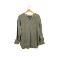Slouchy Knit Henley Sweater 90s Button Up Army Drab Green Boyfriend Pullover Oversized Thermal 1990s Cotton Knit Sweater Vintage Men's XL
