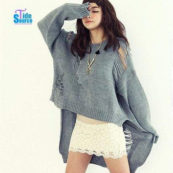 Asymmetrical Sweater Hollow Out