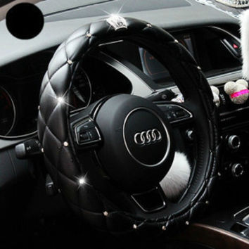 Luxury Crystal Crown Studded Rhinestone covered Leather Car Steering Wheel Cover Diamond Steering Covers Cases For Women Girls