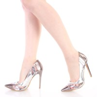 Silver Pointed Toe Single Sole Pump Heels Metallic Faux Leather