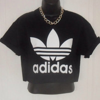 unisex customised adidas crop top t shirt top grunge festival fashion