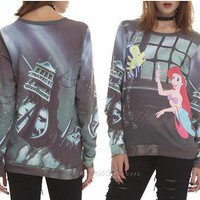 Licensed cool Disney Little Mermaid ARIEL/FLOUNDER Dinglehopper Fork Jumper Pullover Crewneck