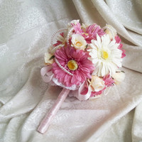Silk and satin flowers wedding BOUQUET dusty pink ivory creme pearls, satin Handle, cotton lace, vintage style, Bridesmaids, custom