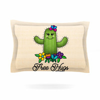 "Noonday Design ""Free Hugs Cactus"" Green Pastel Pillow Sham"