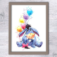 Eeyore Winnie the Pooh watercolor print Disney art poster Nursery room decor Home decoration Kids room wall art Winnie the Pooh poster V49