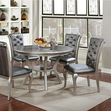 Amina Contemporary Round Dining Table, Champagne By Casagear Home