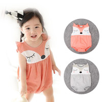 New 2016 Baby Bodysuit Summer Newborn Baby Girl Boy Clothes Sleeveless Cute Fox Pattern Bodysuits Jumpsuit Costume Bebes Giyim
